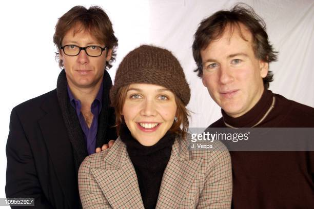 James Spader Maggie Gyllenhaal and director Steven Shainberg pose at 2002 Sundance Film Festival for their new film 'Secretary'