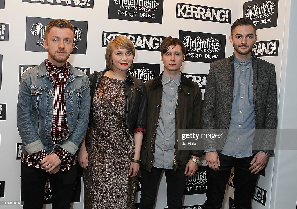 James Spence, Eva Spence, Chris Cayford and Nathan Fairweather of Rolo Tomassi attend The Kerrang! Awards at the Troxy on June 13, 2013 in London, England.
