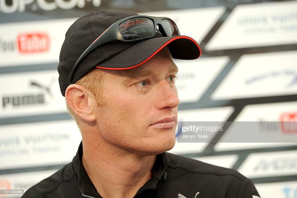 James Spithill attends the Closing Press Conference during the seventh day of the America's Cup World Series on August 14 2011 in Cascais Portugal