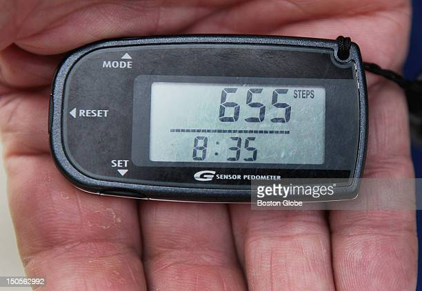 James Spriggs has a pedometer that measures the number of steps from his South End apartment to his gym in Boston's Prudential Center Saturday July...