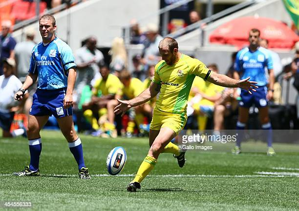 James Stannard of Australia attempts to convert the try during fixture 25 between Australia and Zimbabwe during day 2 of the Cell C Nelson Mandela...
