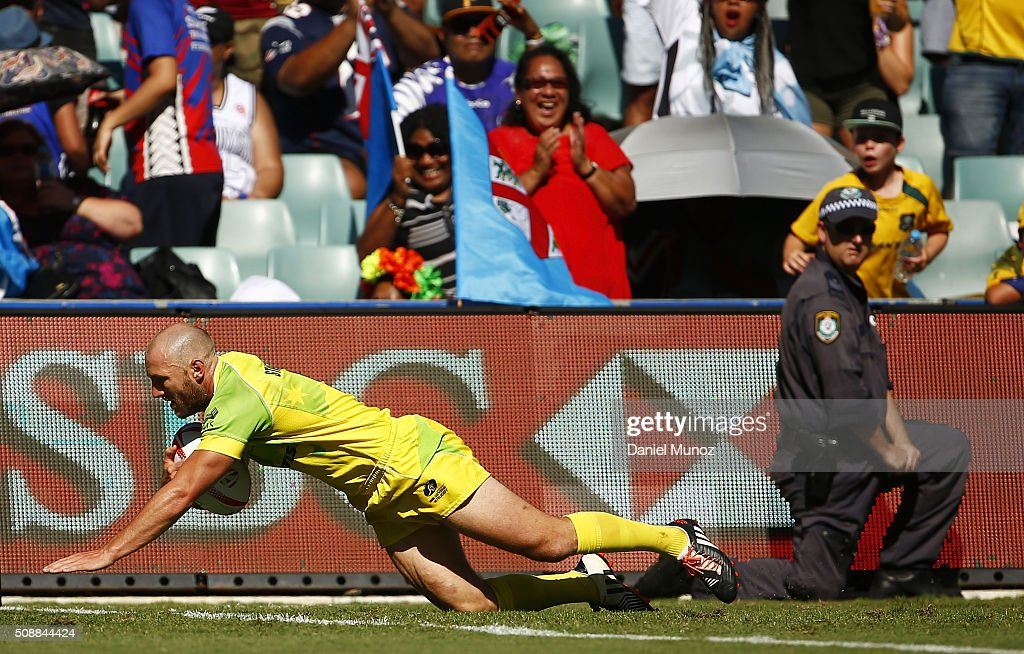 James Stannard of Australia dives for a try during the 20146 Sydney Sevens semi-final match between Australia and South Africa at Allianz Stadium on February 7, 2016 in Sydney, Australia.