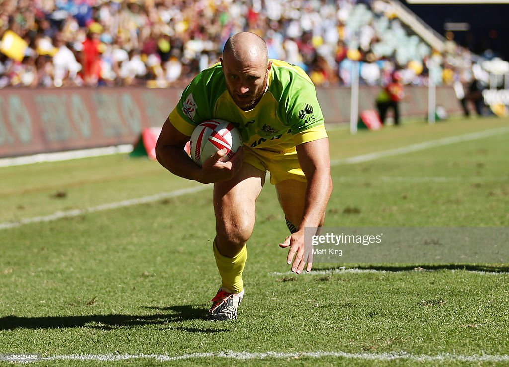 James Stannard of Australia scores a try during the 2016 Sydney Sevens Cup Semi Final match between Australia and South Africa at Allianz Stadium on February 7, 2016 in Sydney, Australia.