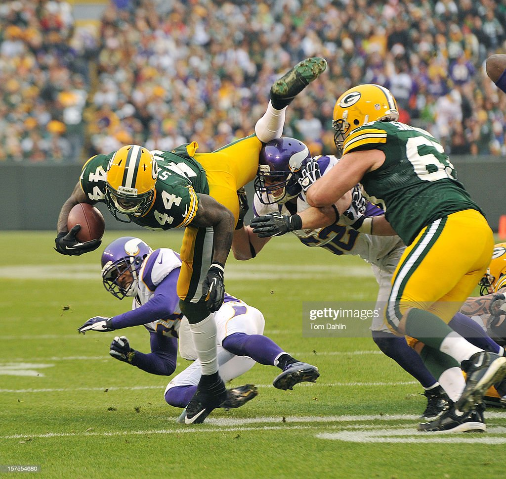 James Starks #44 of the Green Bay Packers carries the ball during an NFL game against the Minnesota Vikings at Lambeau Field on December 2, 2012 in Green Bay, Wisconsin.