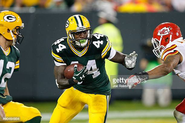 James Starks of the Green Bay Packers carries the football against the Kansas City Chiefs in the second half at Lambeau Field on September 28 2015 in...