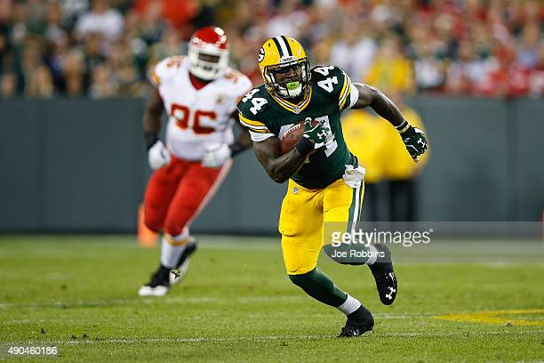 James Starks of the Green Bay Packers carries the football in the first quarter against the Kansas City Chiefs at Lambeau Field on September 28 2015...
