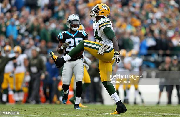 James Starks of the Green Bay Packers reacts after a play against the Carolina Panthers in the 1st quarter during their game at Bank of America...