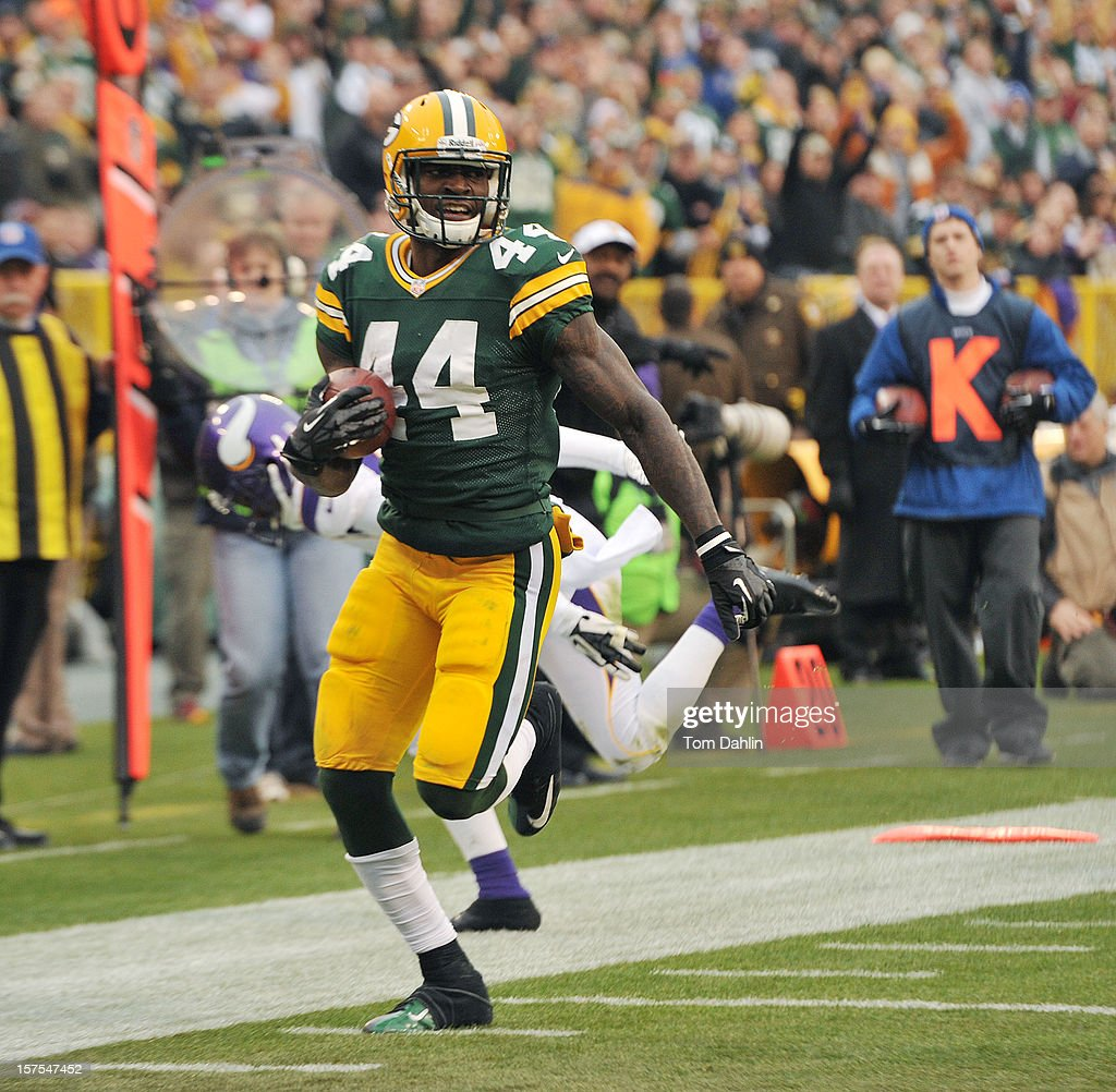 James Starks #44 of the Green Bay Packers runs for a touchdown during an NFL game against the Minnesota Vikings at Lambeau Field on December 2, 2012 in Green Bay, Wisconsin.