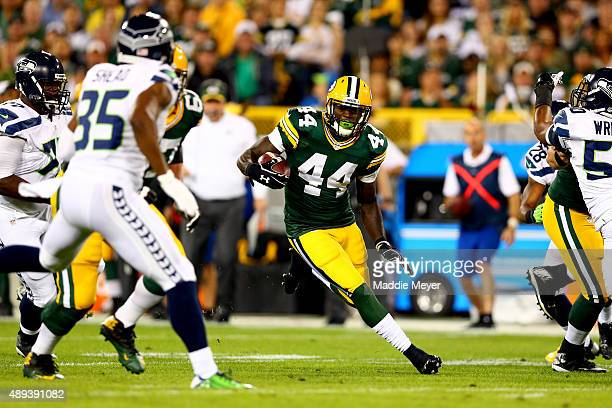 James Starks of the Green Bay Packers runs the ball in the first quarter against the Seattle Seahawks during their game at Lambeau Field on September...