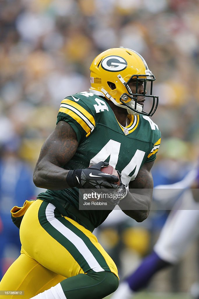<a gi-track='captionPersonalityLinkClicked' href=/galleries/search?phrase=James+Starks&family=editorial&specificpeople=5441882 ng-click='$event.stopPropagation()'>James Starks</a> #44 of the Green Bay Packers runs with the ball against the Minnesota Vikings during the game at Lambeau Field on December 2, 2012 in Green Bay, Wisconsin. The Packers won 23-14.