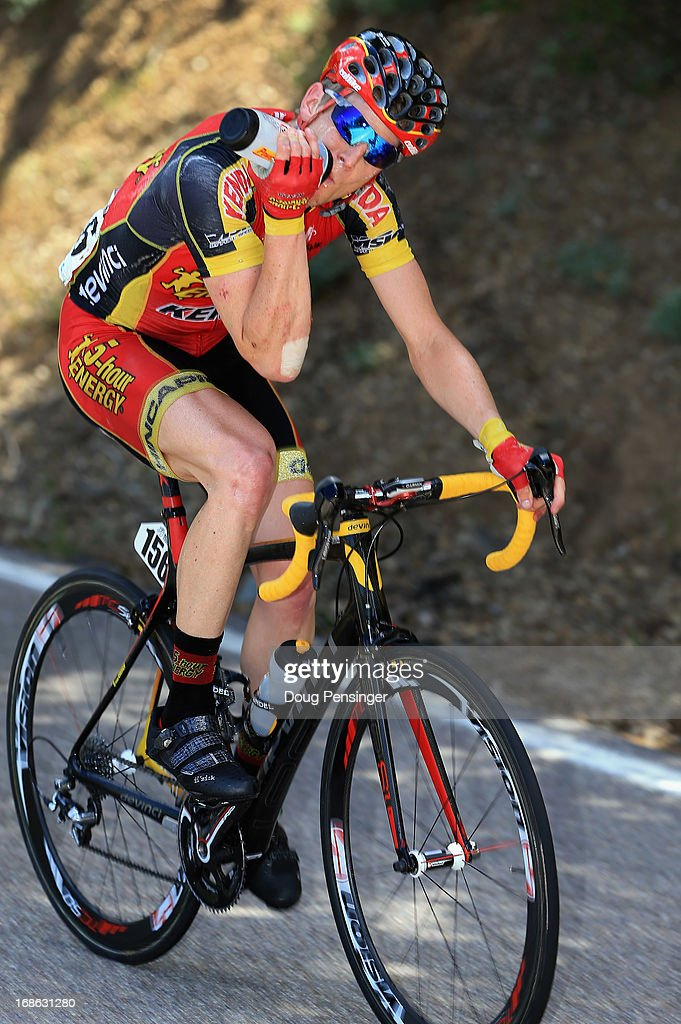 James Stemper of the USA riding for 5 Hour Energy p/b Kenda takes a drink as he rides in the breakaway as temperatures hovered in the mid 90's during Stage One of the 2013 Amgen Tour of California from Escondido to Escondido on May 12, 2013 in San Diego Caounty, California. Stemper was awarded the most courageous rider jersey for the stage.
