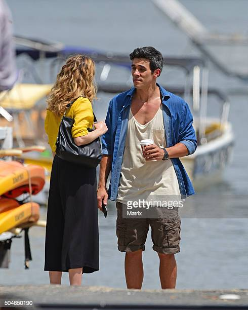 James Stewart and Penny McNamee film Home and Away on January 12 2016 in Sydney Australia