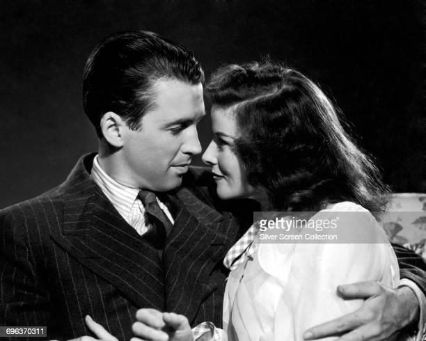 James Stewart as Mike Connor and Katharine Hepburn as Tracy Lord in the romantic comedy 'The Philadelphia Story' 1940