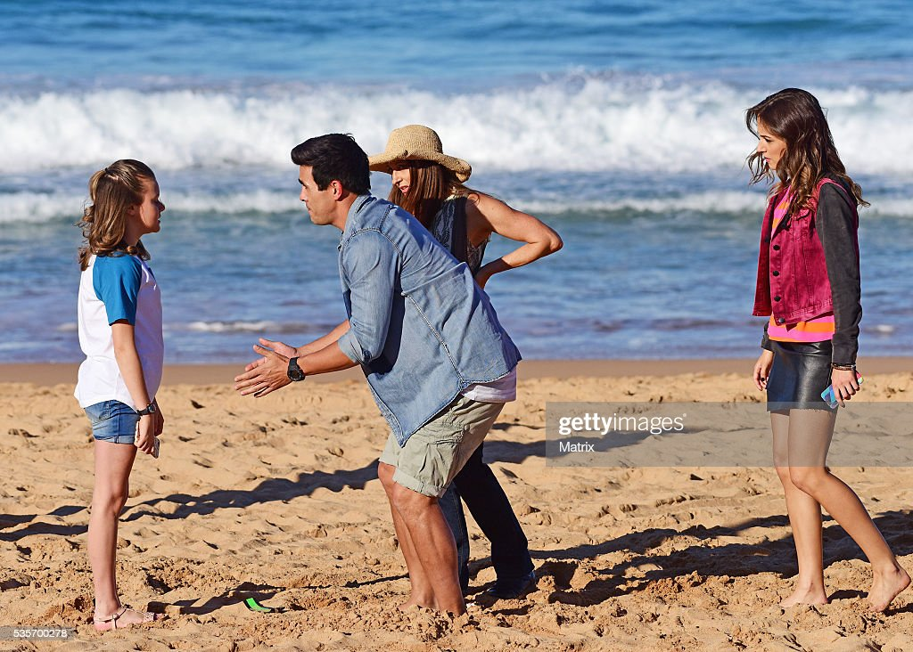 James Stewart, Isabella Giovinazzo and Georgie Parker filming scenes from Home and Away on May 30, 2016 in Sydney, Australia.