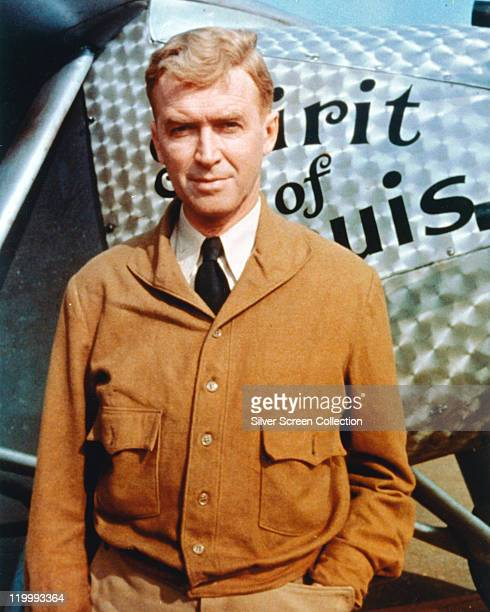 James Stewart US actor in costume standing before an aircraft for a publicity portrait issued for the film 'The Spirit of St Louis' 1957 The biopic...