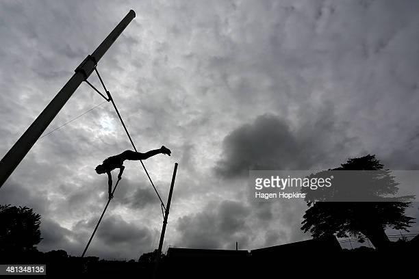 James Steyn of Auckland competes in the junior men's pole vault final during the New Zealand track and field championships at Newtown Park on March...