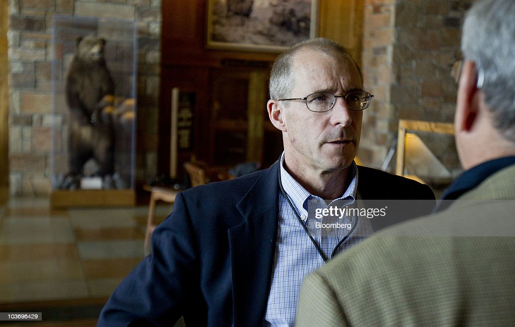 James Stock, professor of economics at Harvard University, left, talks to <a gi-track='captionPersonalityLinkClicked' href=/galleries/search?phrase=Donald+Kohn&family=editorial&specificpeople=3793171 ng-click='$event.stopPropagation()'>Donald Kohn</a>, vice chairman of the U.S. Federal Reserve, during the Federal Reserve Bank of Kansas City annual symposium near Jackson Hole, Wyoming, U.S., on Saturday, Aug. 28, 2010. Federal Reserve Chairman Ben S. Bernanke said the U.S. central bank 'will do all that it can' to ensure a continuation of the economic recovery, and outlined steps it might take if the growth slows. Photographer: Andrew Harrer/Bloomberg via Getty Images