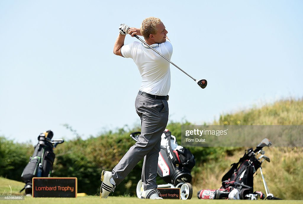 James Streat of Ferndown Golf CLub tees off during the Lombard Trophy West Regional Qualifier at Burnham and Berrow Golf Club on July 23, 2014 in Burnham-on-Sea, England.
