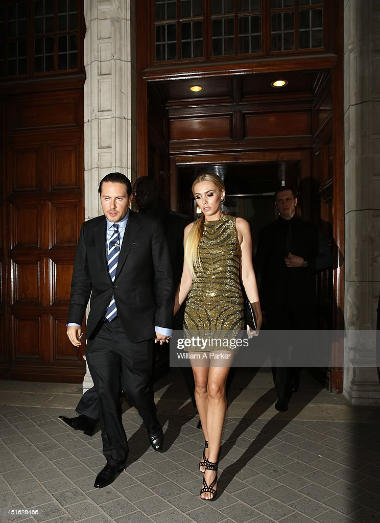 James Stunt and Petra Ecclestone seen leaving The F1 Party on July 2, 2014 in London, England.