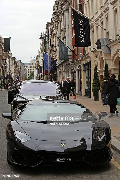 James Stunt's fleet of cars outside Sotheby's on New Bond St on May 2 2014 in London England