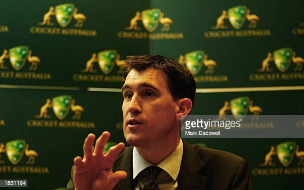 James Sutherland CEO of the Australian Cricket Board speaks with media at the unveiling of their new logo and brand name at the ACB office in...