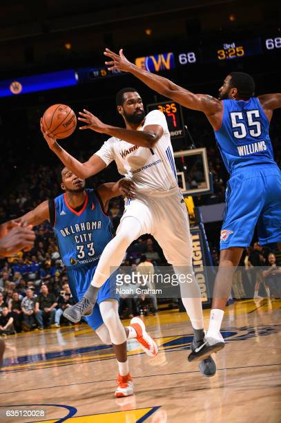 James Sutherland of the Santa Cruz Warriors passes the ball against the Oklahoma City Blue on February 12 2017 at Oracle Arena in Oakland California...