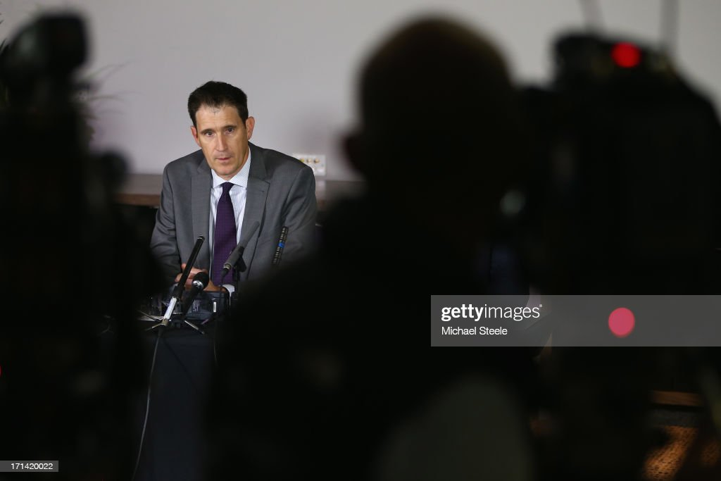 James Sutherland the CEO of cricket Australia addresses the media during a Australia cricket press conference following the sacking of head coach Mickey Arthur on June 24, 2013 in Bristol, England.