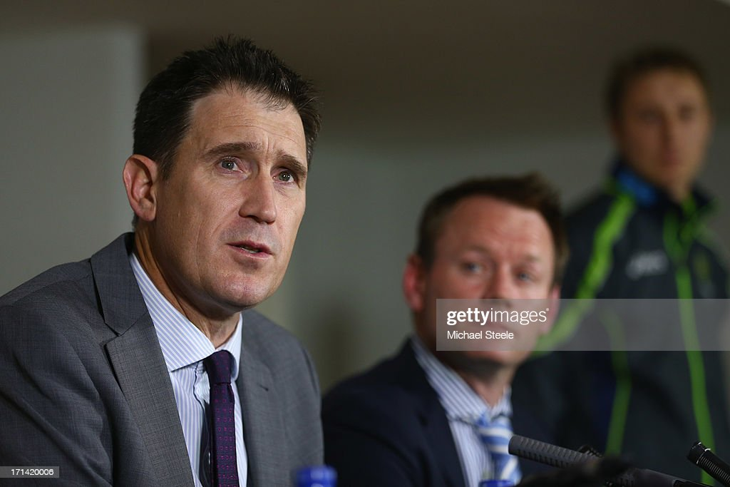 James Sutherland (L) the CEO of cricket Australia and Pat Howard (R) Executive general manager of team performance address the media during a Australia cricket press conference following the sacking of head coach Mickey Arthur on June 24, 2013 in Bristol, England.