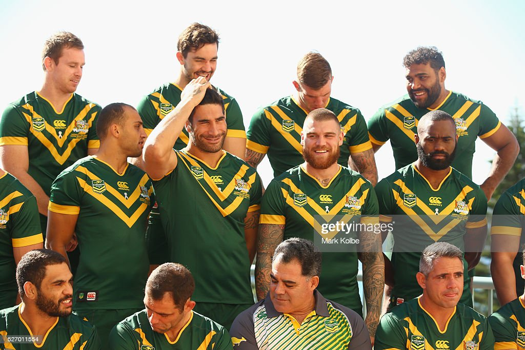 James Tamou fixes his hair as he and his team mates prepare for the team photo during the Australia Kangaroos Test team photo session at Crowne Plaza Coogee on May 2, 2016 in Sydney, Australia.