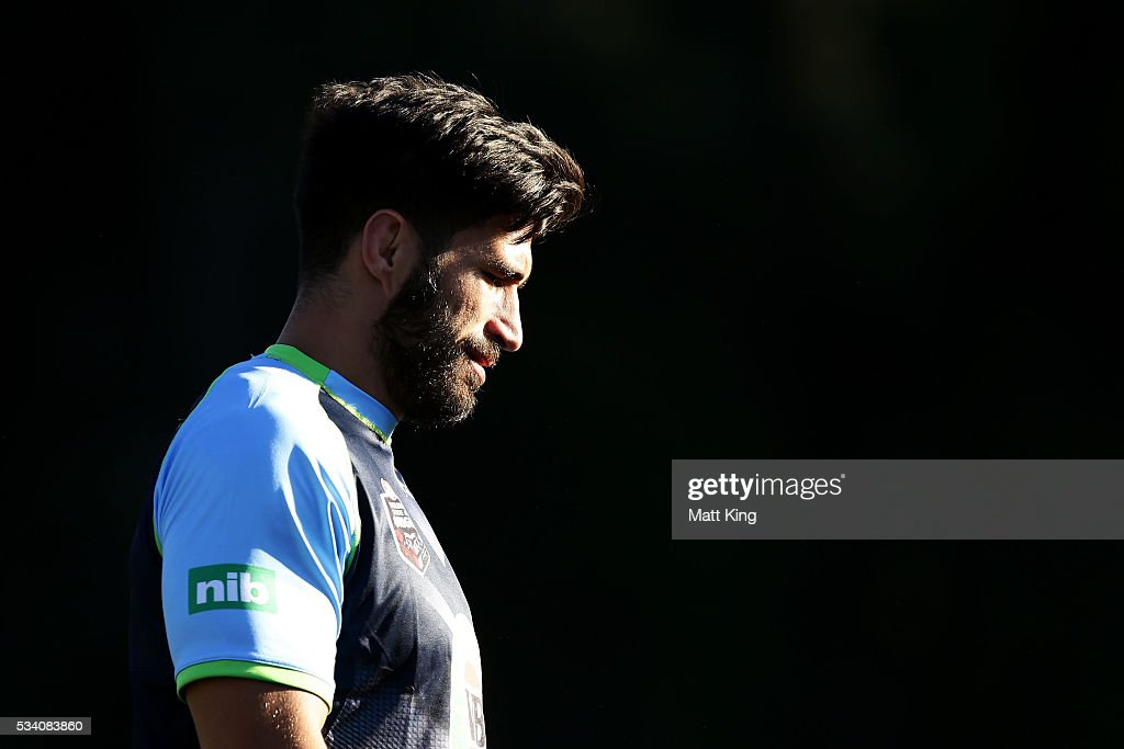 <a gi-track='captionPersonalityLinkClicked' href=/galleries/search?phrase=James+Tamou&family=editorial&specificpeople=5563889 ng-click='$event.stopPropagation()'>James Tamou</a> of the Blues looks on during a New South Wales Blues State of Origin training session on May 25, 2016 in Coffs Harbour, Australia.