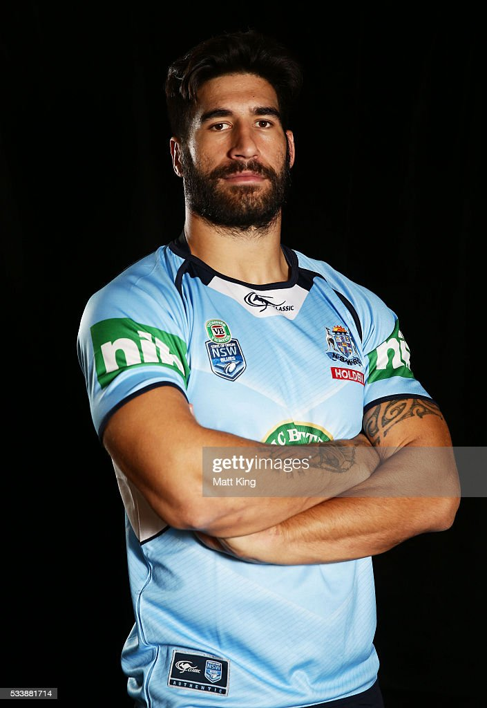 <a gi-track='captionPersonalityLinkClicked' href=/galleries/search?phrase=James+Tamou&family=editorial&specificpeople=5563889 ng-click='$event.stopPropagation()'>James Tamou</a> of the Blues poses during a New South Wales Blues NRL State of Origin portrait session at The Novatel on May 24, 2016 in Coffs Harbour, Australia.
