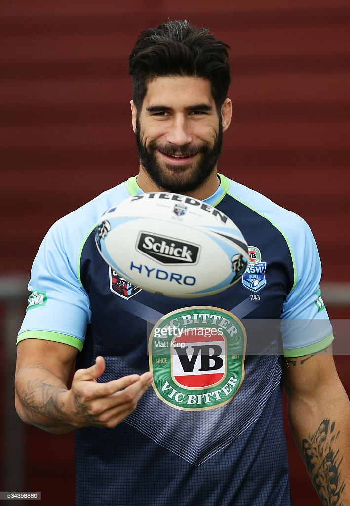 James Tamou of the Blues prepares during a New South Wales State of Origin training session on May 26, 2016 in Coffs Harbour, Australia.