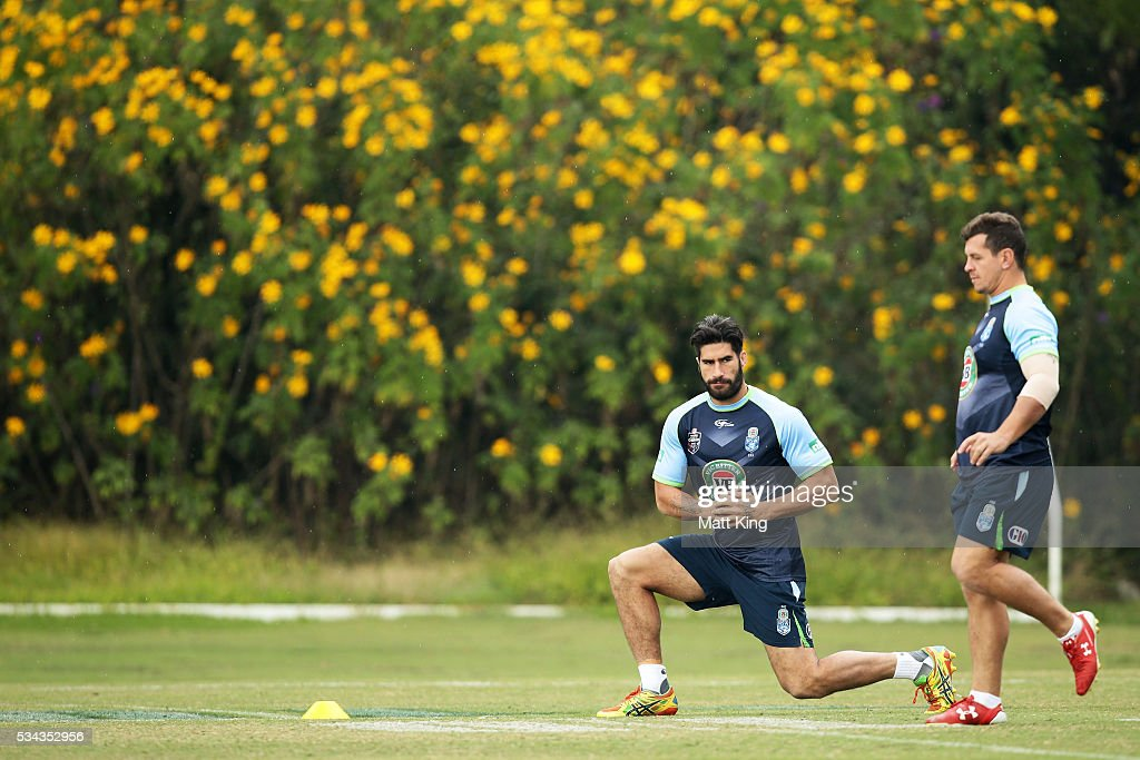 <a gi-track='captionPersonalityLinkClicked' href=/galleries/search?phrase=James+Tamou&family=editorial&specificpeople=5563889 ng-click='$event.stopPropagation()'>James Tamou</a> of the Blues stretches during a New South Wales State of Origin media opportunity on May 26, 2016 in Coffs Harbour, Australia.