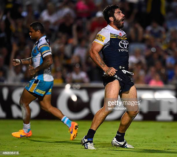 James Tamou of the Cowboys celebrates after scoring a try during the round 26 NRL match between the North Queensland Cowboys and the Gold Coast...