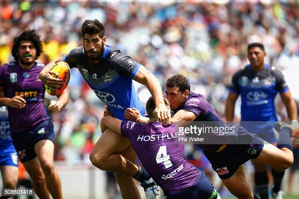 James Tamou of the Cowboys is tackled during the 2016 Auckland Nines quarterfinal match between the Storm and the Cowboys at Eden Park on February 7...