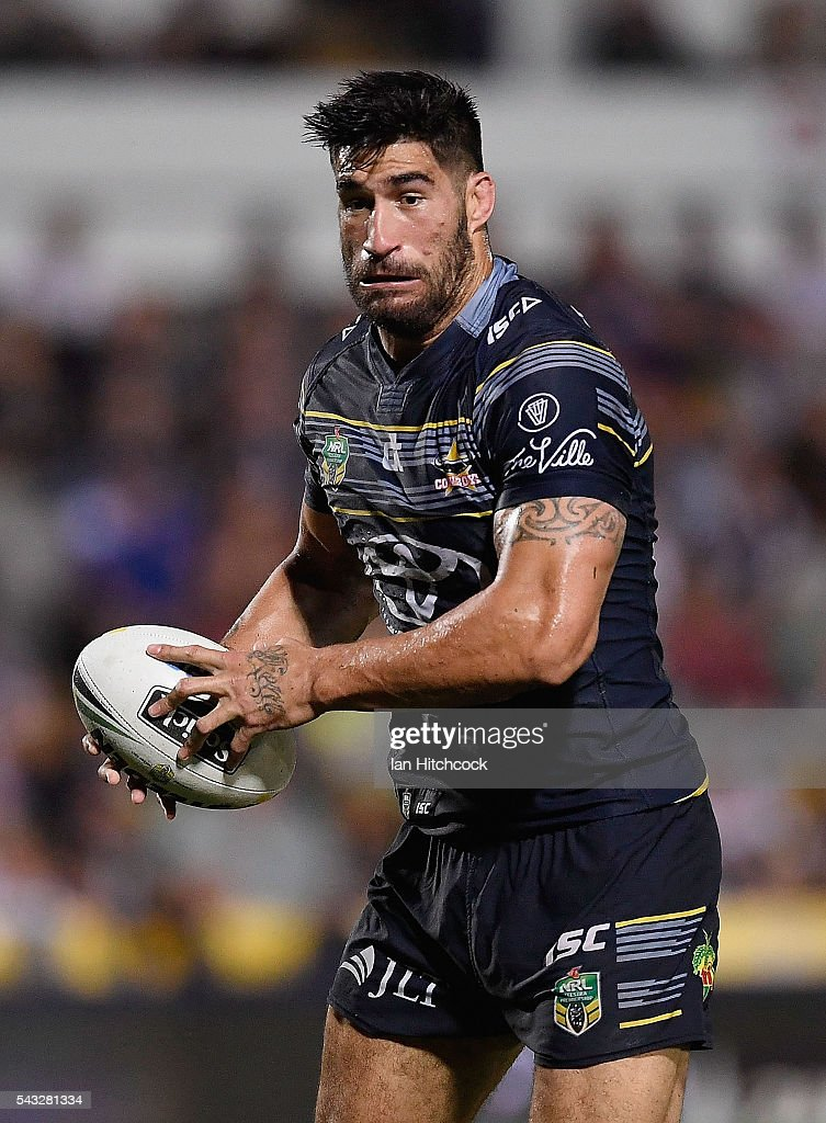 <a gi-track='captionPersonalityLinkClicked' href=/galleries/search?phrase=James+Tamou&family=editorial&specificpeople=5563889 ng-click='$event.stopPropagation()'>James Tamou</a> of the Cowboys runs the ball during the round 16 NRL match between the North Queensland Cowboys and the Manly Sea Eagles at 1300SMILES Stadium on June 27, 2016 in Townsville, Australia.
