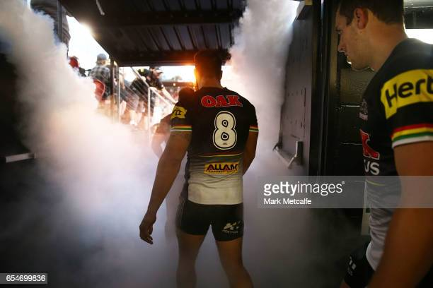 James Tamou of the Panthers and team mates walk out for the round three NRL match between the Penrith Panthers and the Sydney Roosters at Pepper...