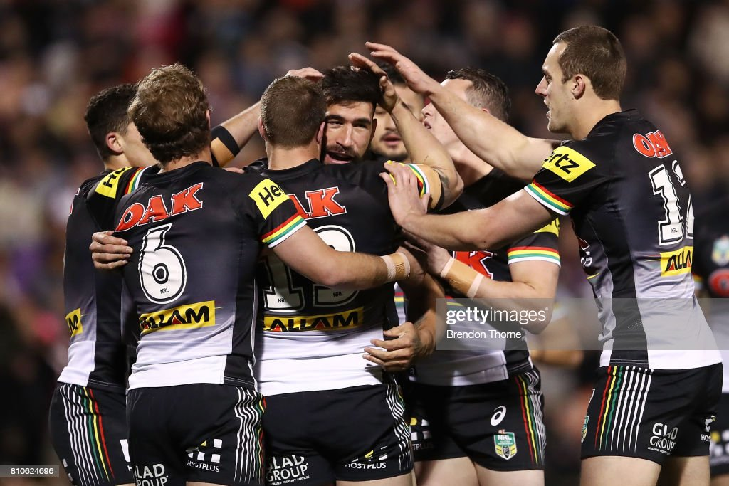 James Tamou of the Panthers celebrates with team mates after scoring a try during the round 18 NRL match between the Penrith Panthers and the Manly Sea Eagles at Pepper Stadium on July 8, 2017 in Sydney, Australia.