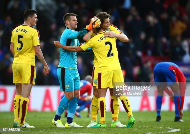 James Tarkowski goalkeeper Tom Heaton Matthew Lowton and Michael Keane of Burnley celebrate after the Premier League match between Crystal Palace and...