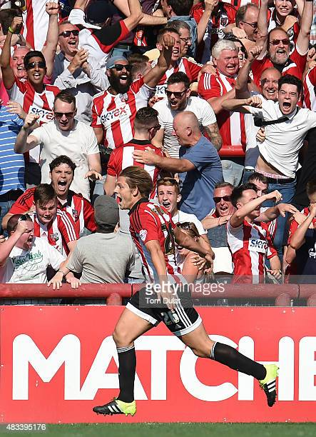James Tarkowski of Brentford celebrates his goal during the Sky Bet Championship match between Brentford and Ipswich Town at Griffin Park on August 8...