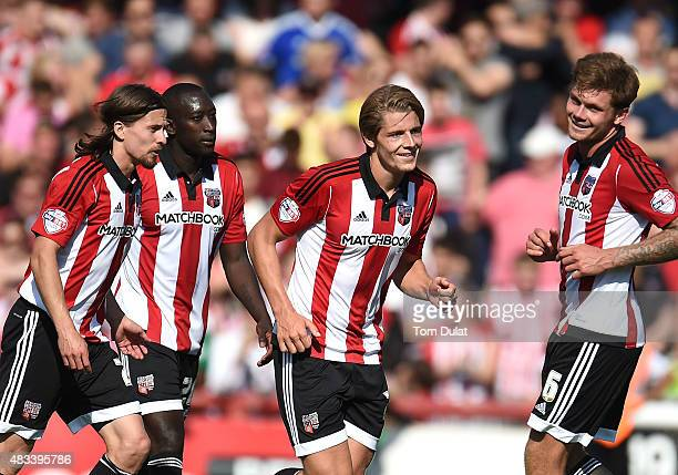 James Tarkowski of Brentford celebrates scoring his side's second goal during the Sky Bet Championship match between Brentford and Ipswich Town at...