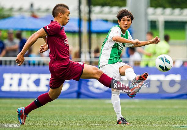 James Tavernier of Newcastle United and So Loi Keung of Citizen fight for the ball on day three of the Hong Kong International Soccer Sevens at Hong...