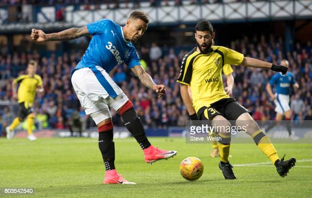 James Tavernier of Rangers goes close to scoring a second goal during the UEFA Europa League first qualifying round match between Rangers and Progres...