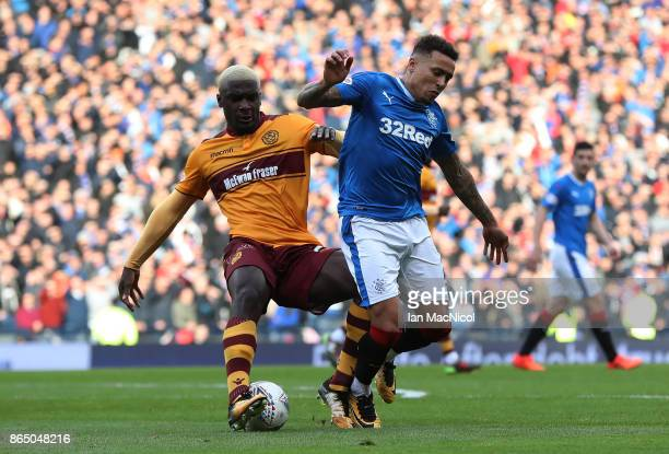James Tavernier of Rangers vies with Cedric Kipre of Motherwell during the Betfred League Cup Semi Final between Rangers and Motherwell at Hampden...