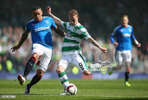 James Tavernier of Rangers vies with Leigh Griffiths of Celtic during the Scottish Cup Semi Final between Rangers and Celtic at Hampden Park on April...