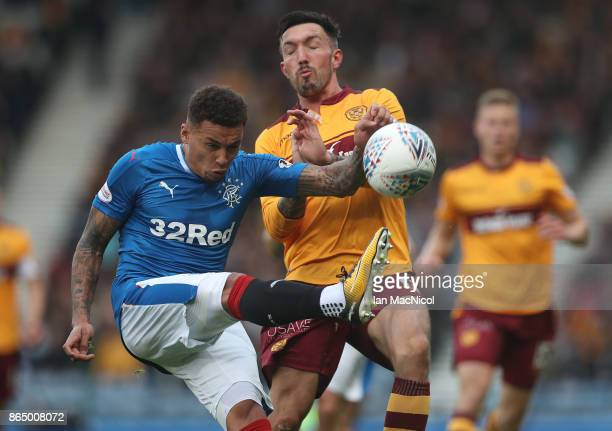 James Tavernier of Rangers vies with Ryan Bowman of Motherwell during the Betfred League Cup Semi Final between Rangers and Motherwell at Hampden...