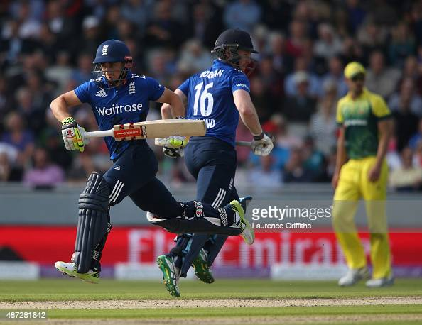 James Taylor and Eoin Morgan of England pile on the runs during the 3rd Royal London OneDay International match between England and Australia at Old...