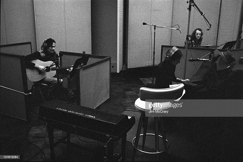 James Taylor, Carole King, Russ Kunkel recording King's album 'Tapestry' at A&M Records Recording Studio in January 1971 in Los Angeles, California, United States.