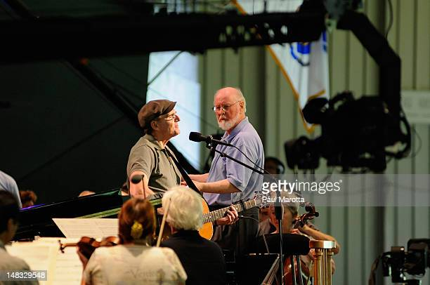 James Taylor John Williams and the Boston Pops Orchestra rehearse for the Tanglewood 75th Anniversary Gala And Party on July 14 2012 in Lenox...