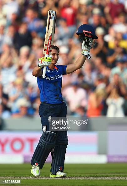 James Taylor of England celebrates his century during the 3rd Royal London OneDay International match between England and Australia at Old Trafford...